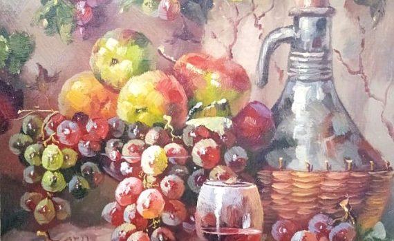 Фрукты с вином