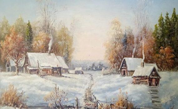 Зимняя деревня у леса